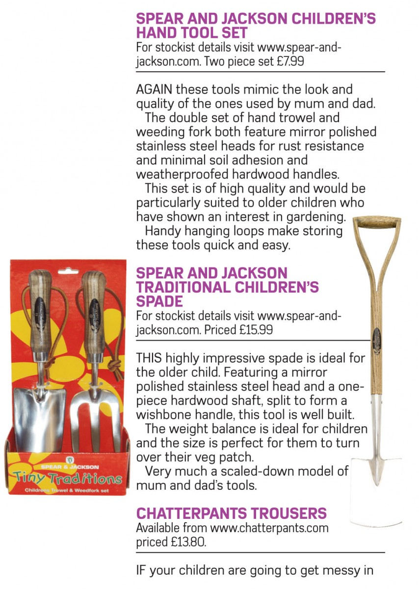 Childrens garden tools feature spear jackson for Gardening tools list pdf