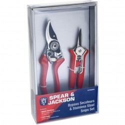 CUTTINGSET6 Bypass Secateurs & Stainless Steel Snips Set