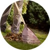 Elements Plastic Leaf Rake (wooden handle)